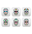 mexican sugar skull buttons set color on black vector image vector image