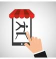 mobile phone silhouette sportman artistic vector image