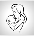 mother holding a baby with her arm vector image