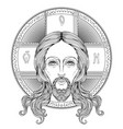 orthodox jesus christ with halo beautiful vector image