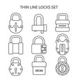 Outline lock icons set