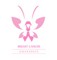 pink ribbon with faces of women and butterfly vector image