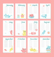 planner calendar template with cute cats vector image vector image