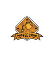 pouring coffee vintage coffee shop logo vector image