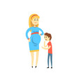 pregnant woman and her son happy family concept vector image