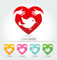 preserve bird with hug in heart symbol vector image vector image