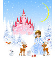 princess castle animals winter forest vector image vector image
