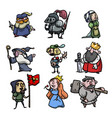 set cute and funny medieval characters of vector image vector image
