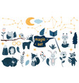 set isolated magic forest vector image vector image