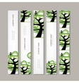 Set of vertical banners with green tree vector image vector image