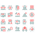 set teamwork related linear icons vector image vector image