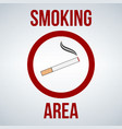 smoking area sign isolated on white vector image