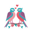 spring birds couple on tree branch vector image vector image