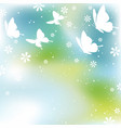 square springtime background with butterflies vector image