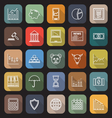 Stock market line flat icons with long shadow vector image vector image