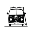 surf vehicle with hippie sign on it in black vector image vector image