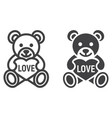 teddy bear with heart line and glyph icon vector image vector image