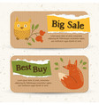 vintage autumn sale horizontal banners vector image