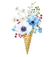 Wafer cone with flowers vector image vector image