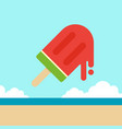watermelon ice cream with beach background summer vector image vector image