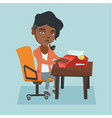 young african journalist working on typewriter vector image vector image