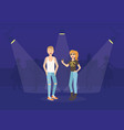 young woman and man in fashion clothing having fun vector image vector image