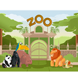 Zoo gate with animals 2 vector image vector image