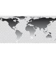 Black map of world on transparent background vector image