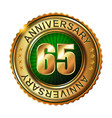 65 years anniversary golden label vector image
