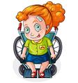 A Caucasian lady riding on a wheelchair vector image