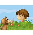 A monkey and a boy talking at the garden vector image vector image