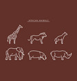 african savanna animals set outline vector image