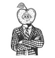 apple head man engraving vector image vector image