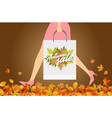 autumn sale design concept woman with paper vector image