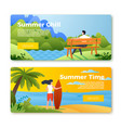 banners with man outdoors surfboard girl vector image vector image