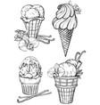 black and white sketch vanilla ice cream vector image