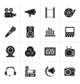 Black Audio and video icons vector image vector image