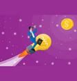 businessman flying on big idea bulb formed rocket vector image vector image
