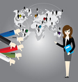 Businesswoman with world map and Thumb down vector image