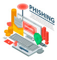 computer phishing concept background isometric vector image vector image