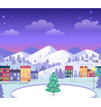 decorated christmas town with houses and ice vector image