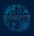 donate blue round bright vector image vector image