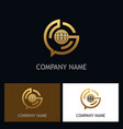 education student technology gold logo vector image