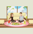 family playing board game vector image