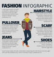 fashion infographic with young artist man vector image vector image