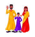 father of mother and son are standing in front of vector image vector image