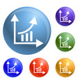 finance graph chart icons set vector image vector image