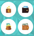 flat icon purse set of pouch billfold payment vector image vector image