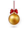 gold christmas ball with red ribbon and bow on vector image vector image