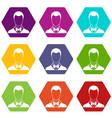groom icon set color hexahedron vector image vector image